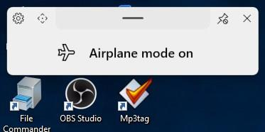 ModernFlyouts airplane mode on