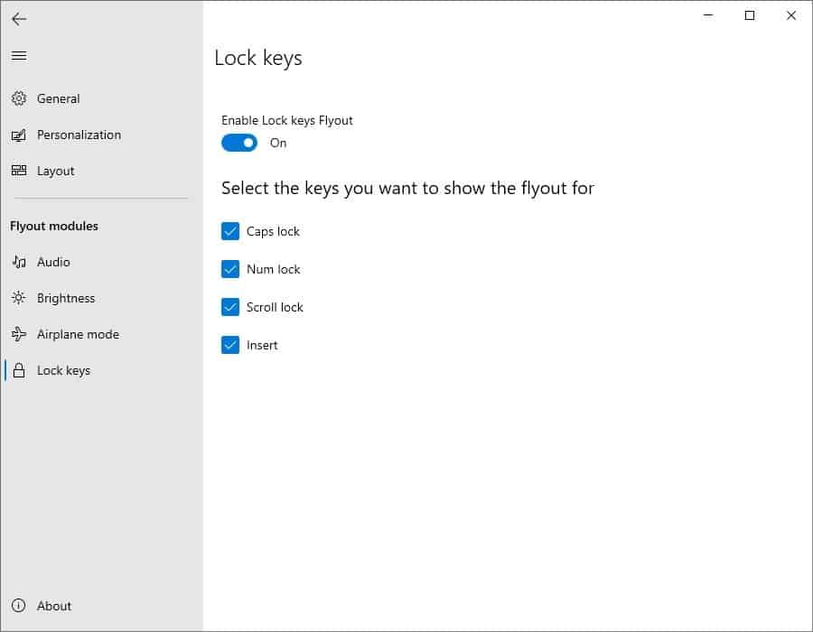 ModernFlyouts lock keys settings