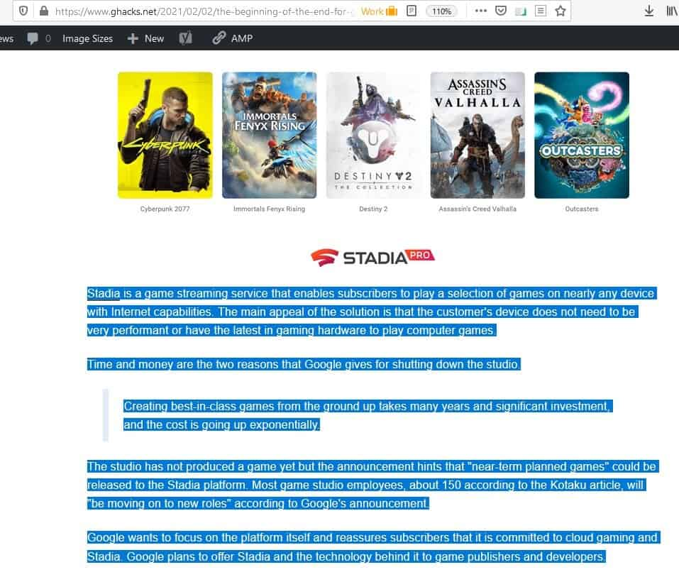 Reader View firefox extension - selected content before reading mode