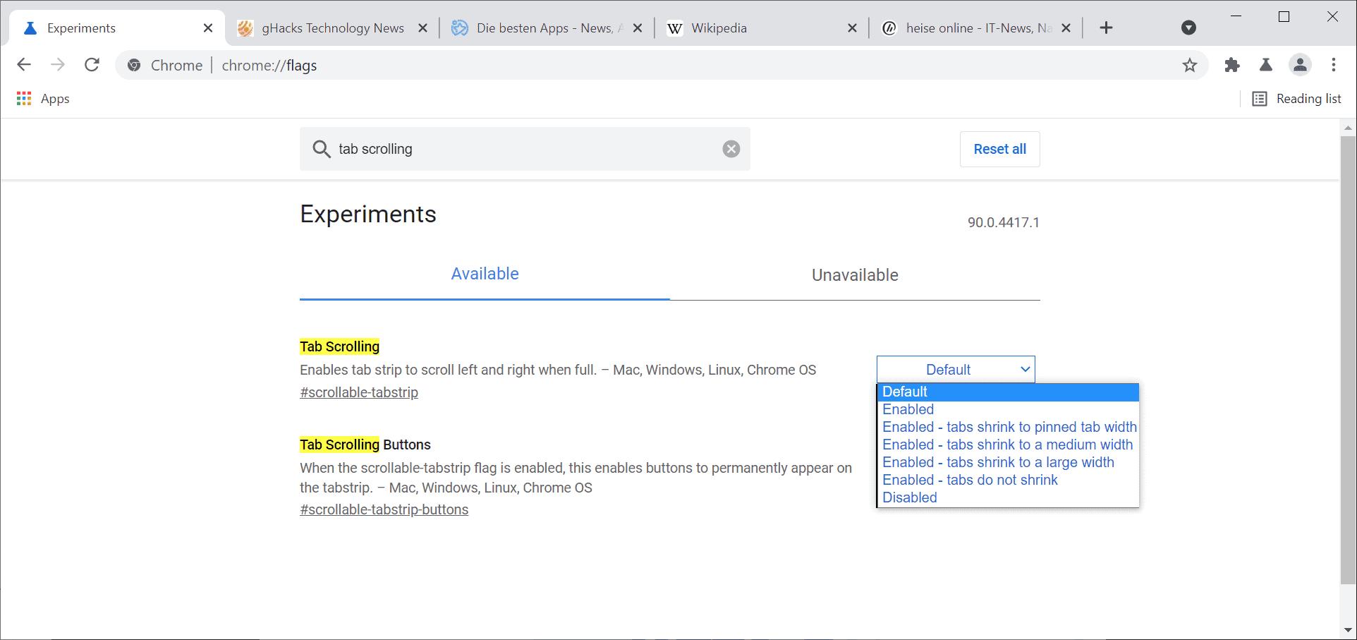 chrome tab scrolling