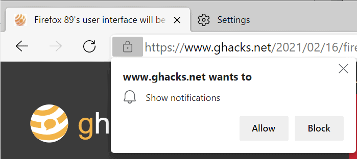 edge notification requests