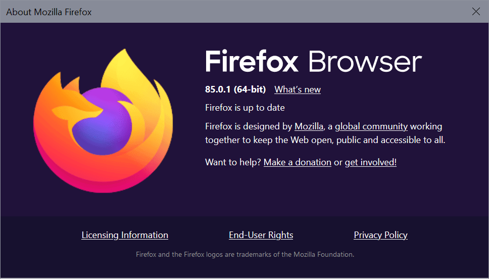 Firefox 85.0.1 fixes a critical security issue and bugs