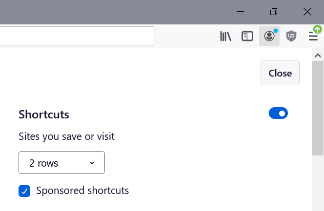 firefox sponsored shortcuts