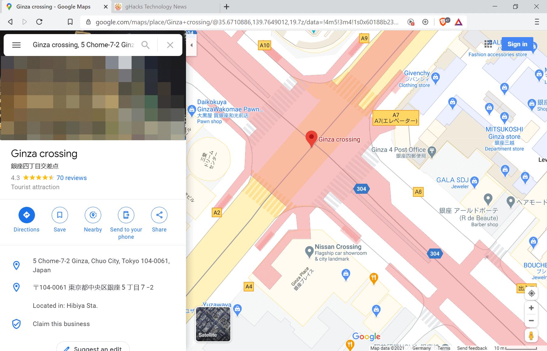 google maps crossings