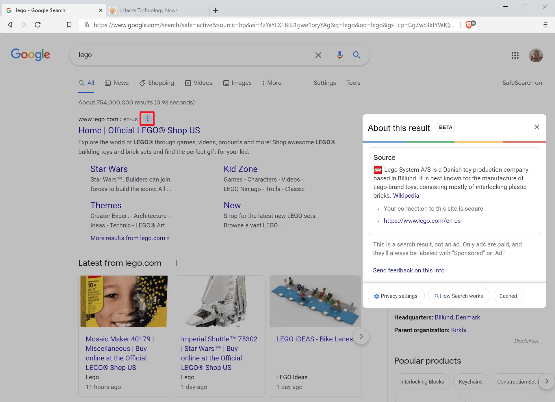 google three dots menu website information