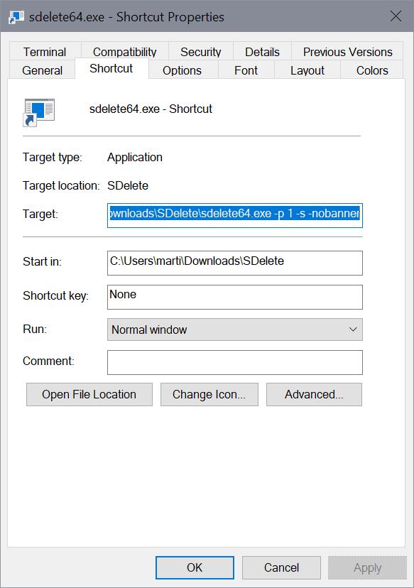 sdelete securely delete files windows