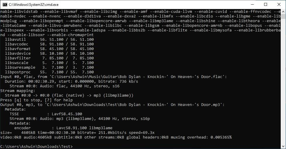 Axiom command prompt ffmpeg