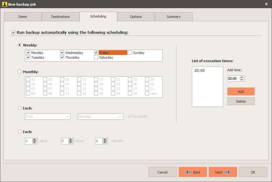Iperius Backup new task - scheduling