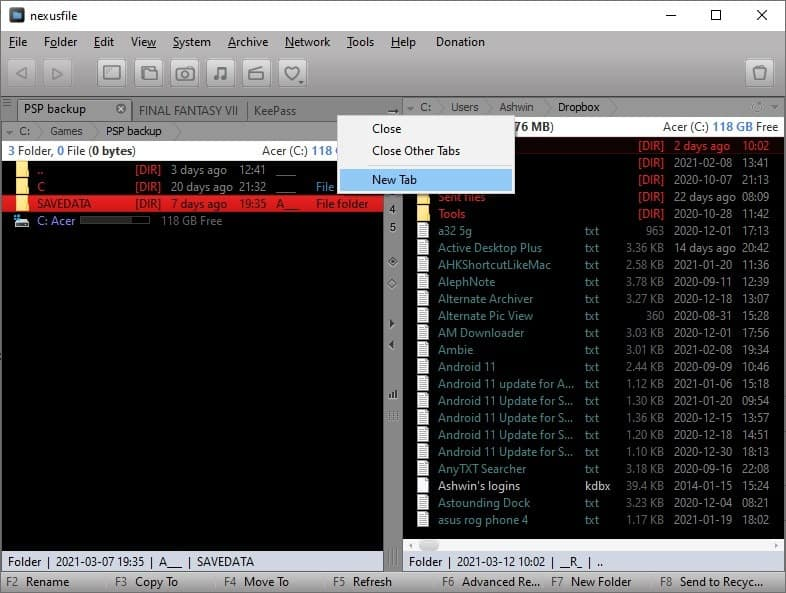 NexusFile file tab bar
