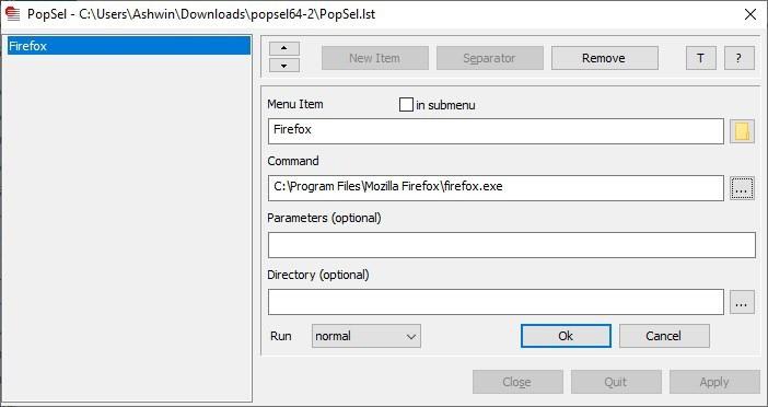 Popsel add a new shortcut