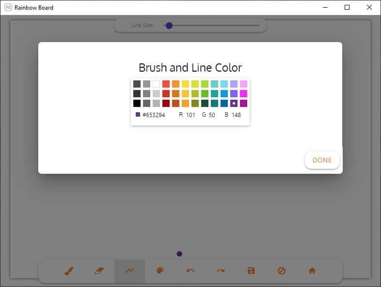 Rainbow Board color palette