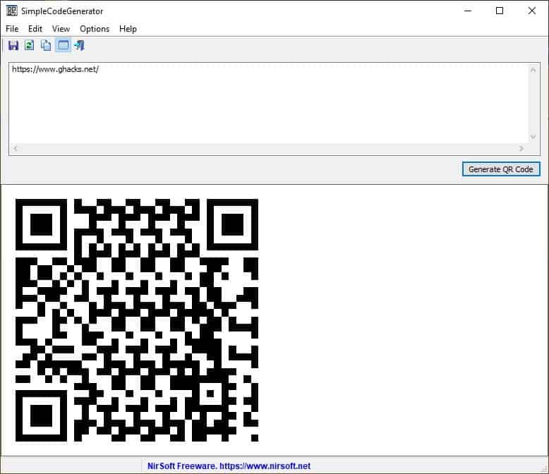 SimpleCodeGenerator is a new tool from NirSoft that lets you create QR Codes for URLs