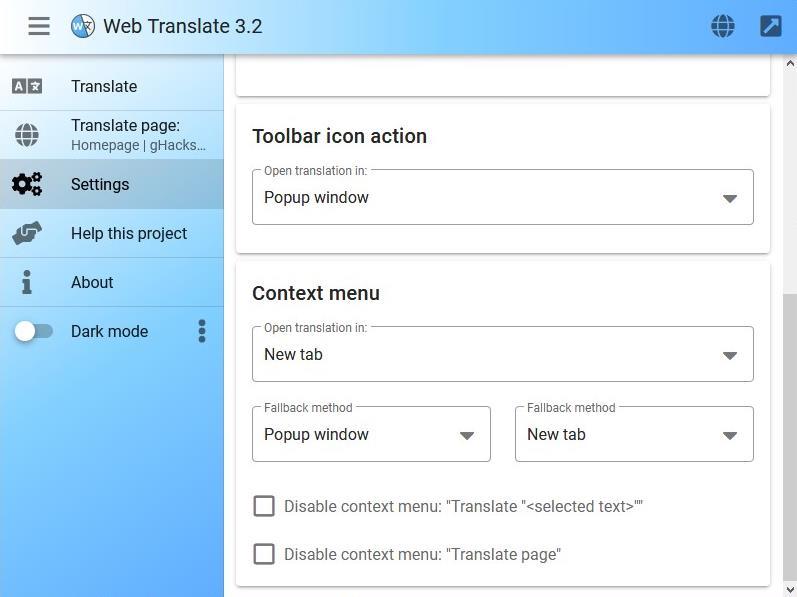 Web Translate - toolbar button