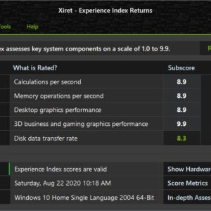 Xiret is an open source tool that calculates your computer's Windows Experience Index scores