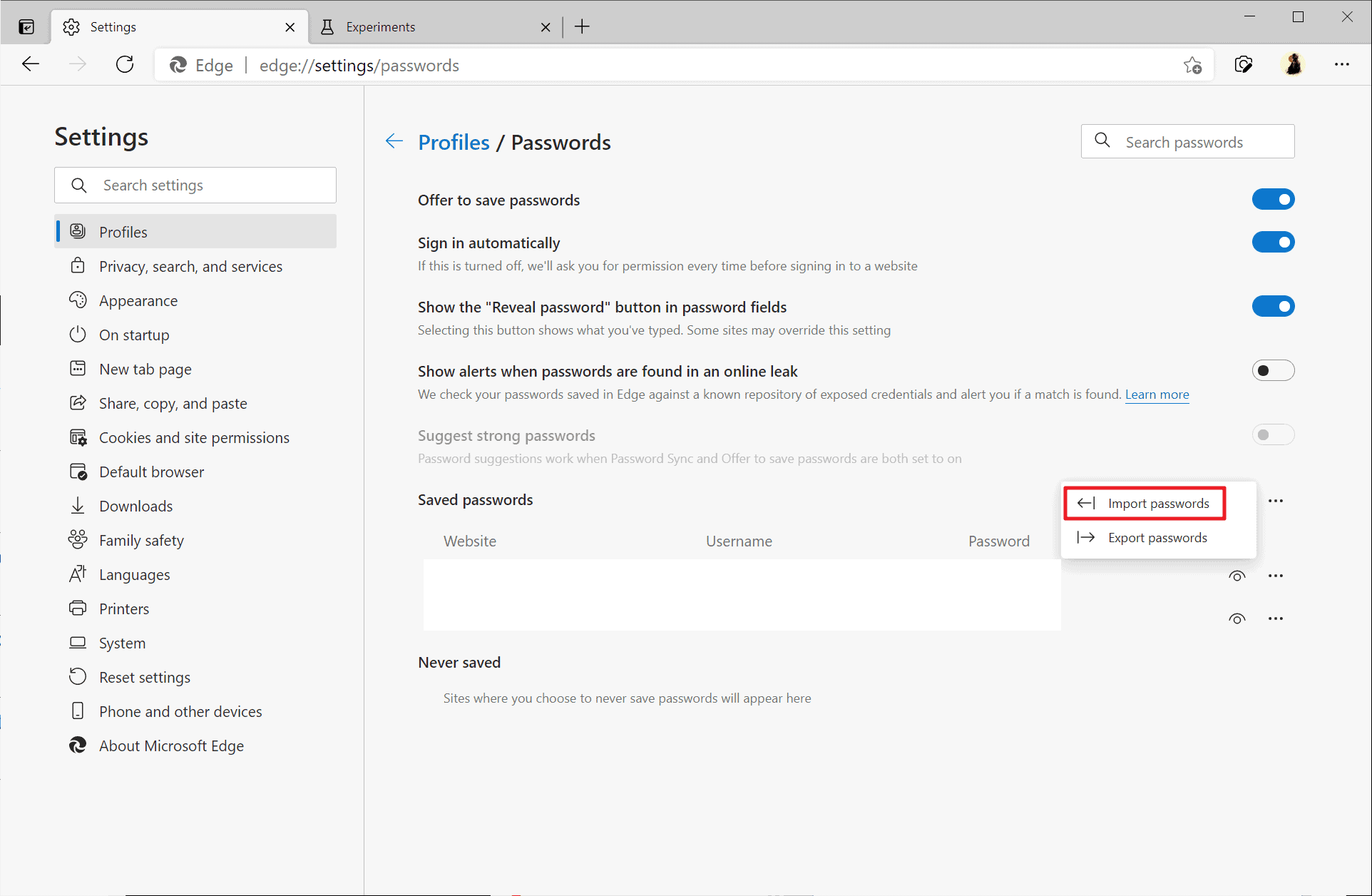Microsoft is working on Password Import option for its Edge browser