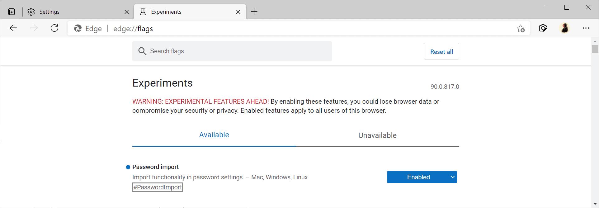 edge password import