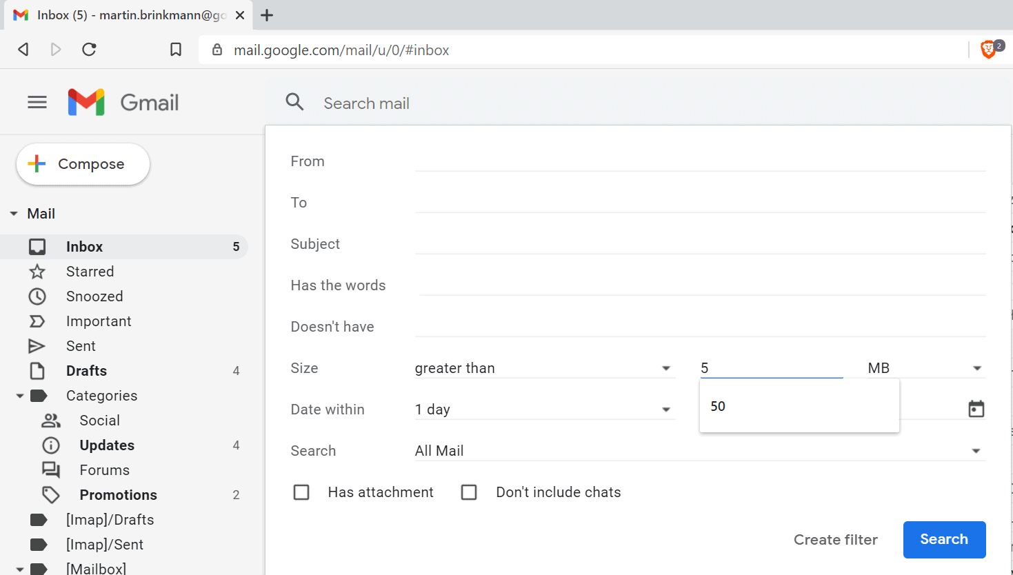 gmail search filters