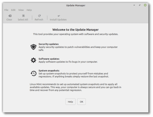 linux mint updates manager