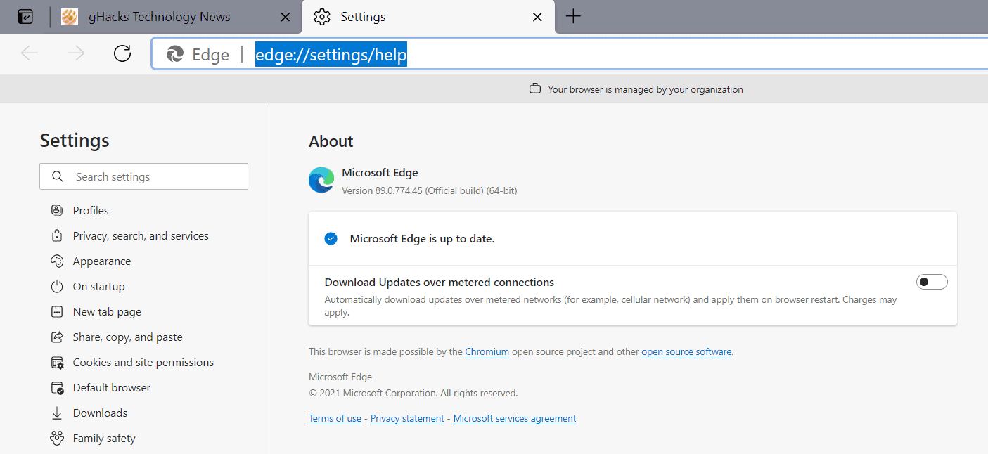 Microsoft Edge 89 Stable is out