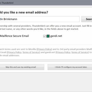 thunderbird create new email account