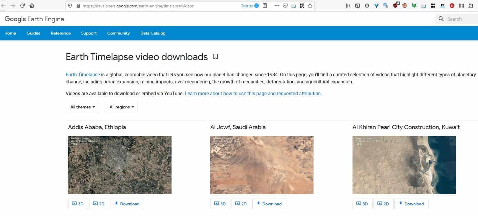 Google Earth Timelapse videos