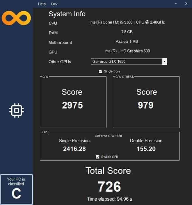 Infinity Bench single core performance