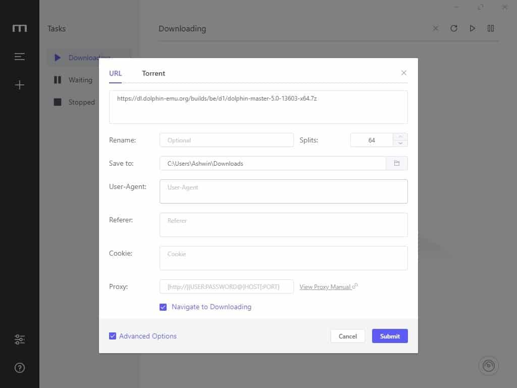 Motrix add a new download advanced options