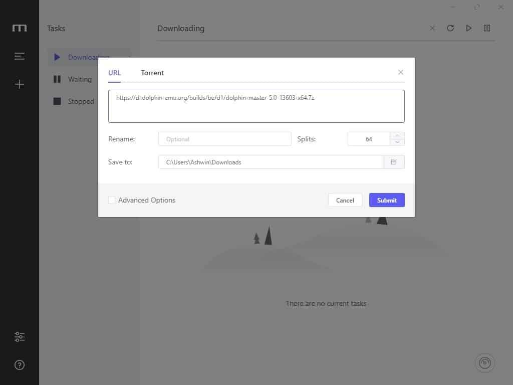 Motrix add a new download