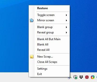 Multiscreen Blank tray menu
