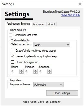 Shutdown Timer Classic settings