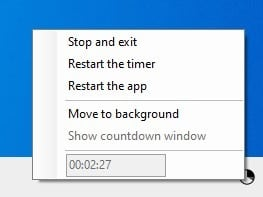 Shutdown Timer Classic tray menu