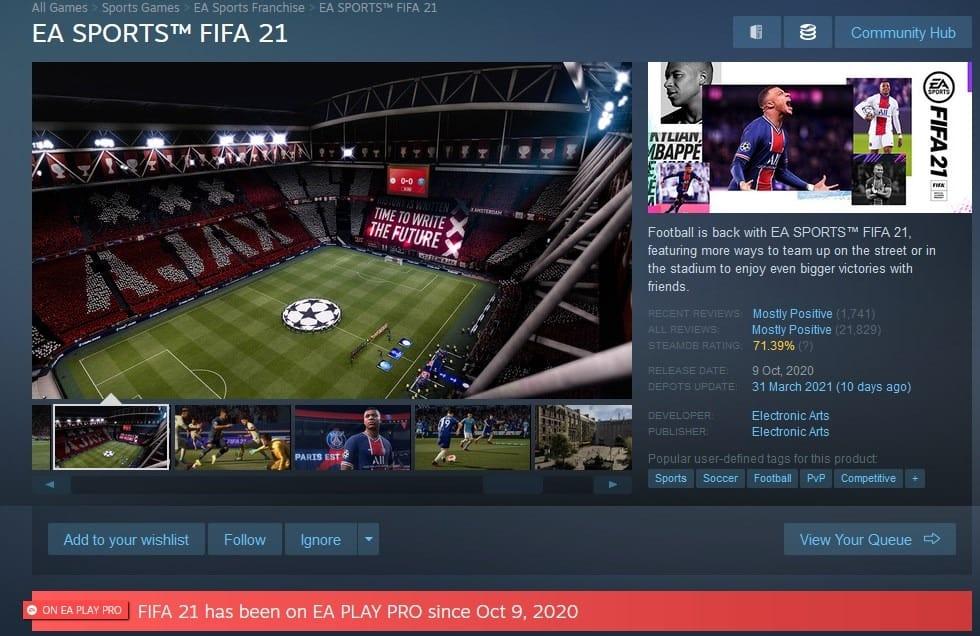 Subscription Info EA Play