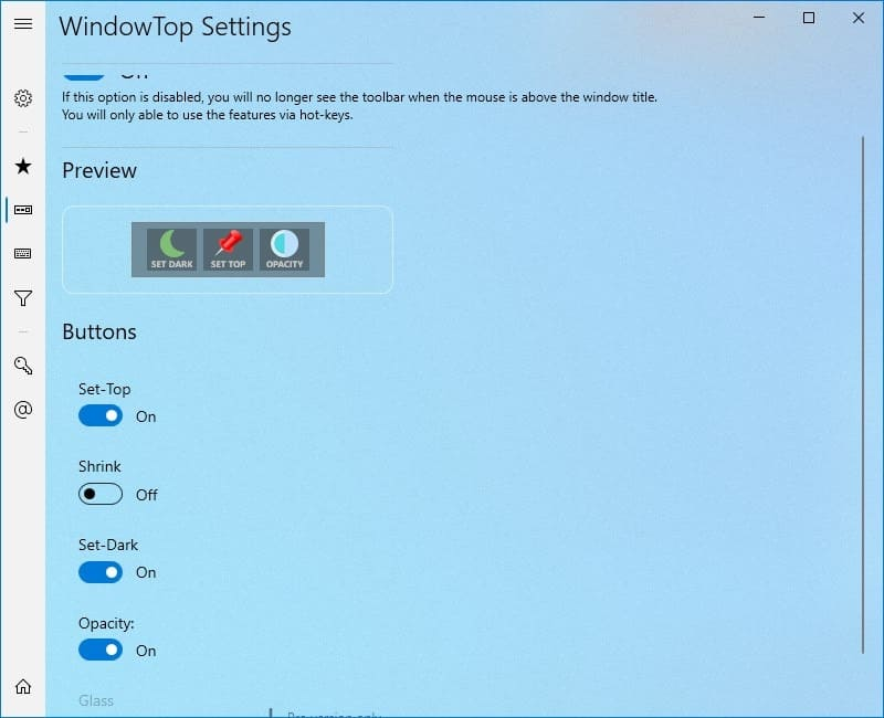 WindowTop settings - buttons