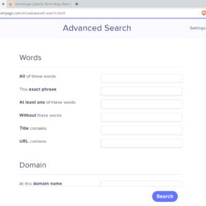 startpage advanced search