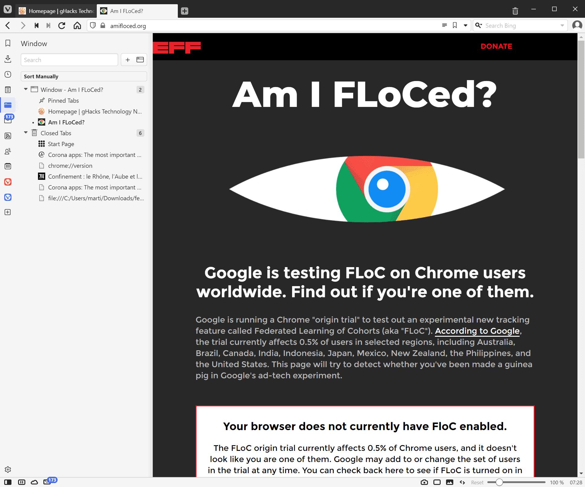 vivaldi browser no floc