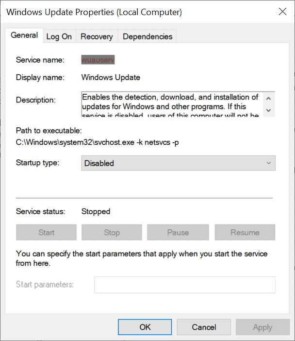 windows update disabled service