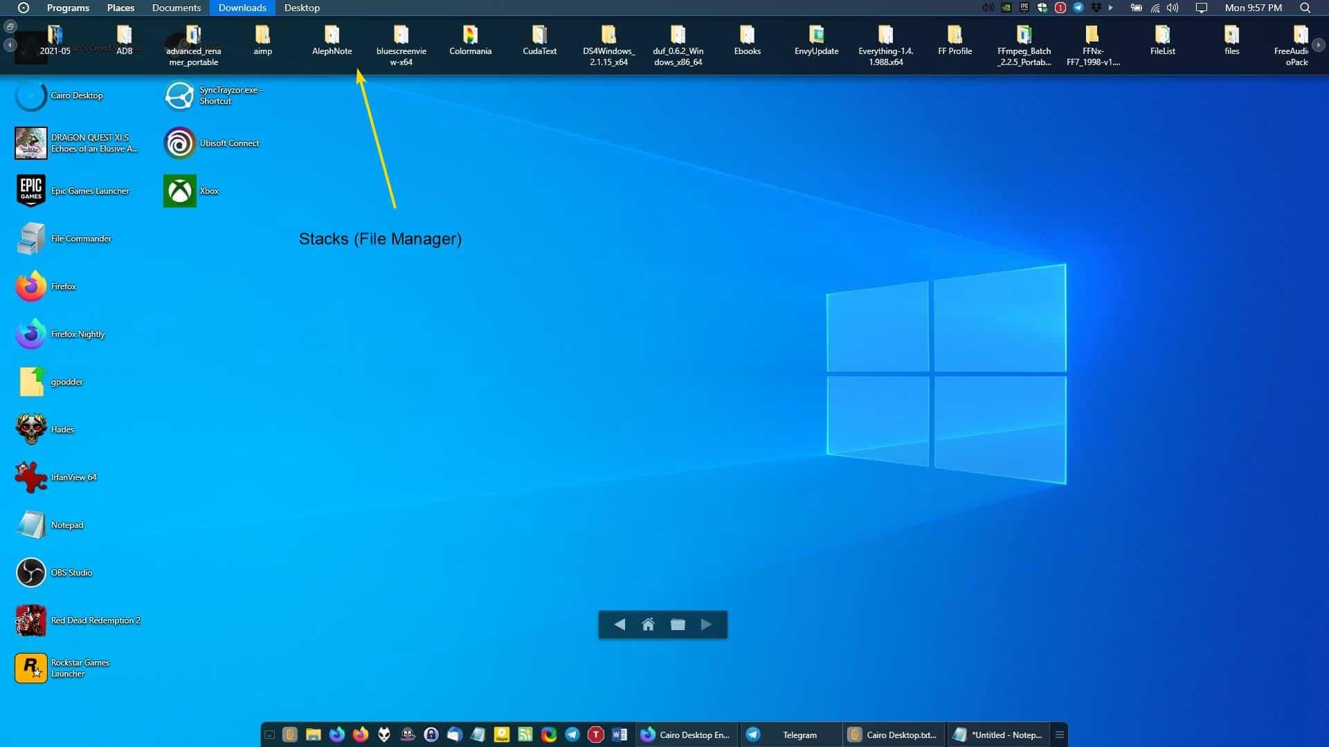 Cairo Desktop - Stacks file manager - browse folders