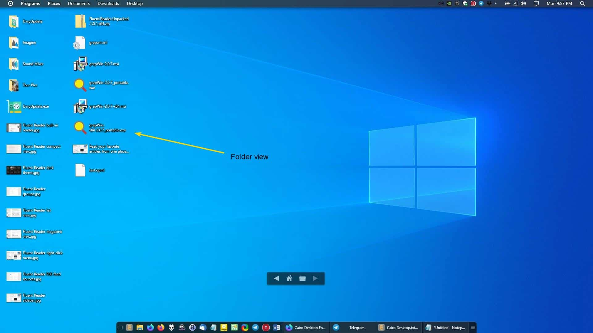 Cairo Desktop browse folders