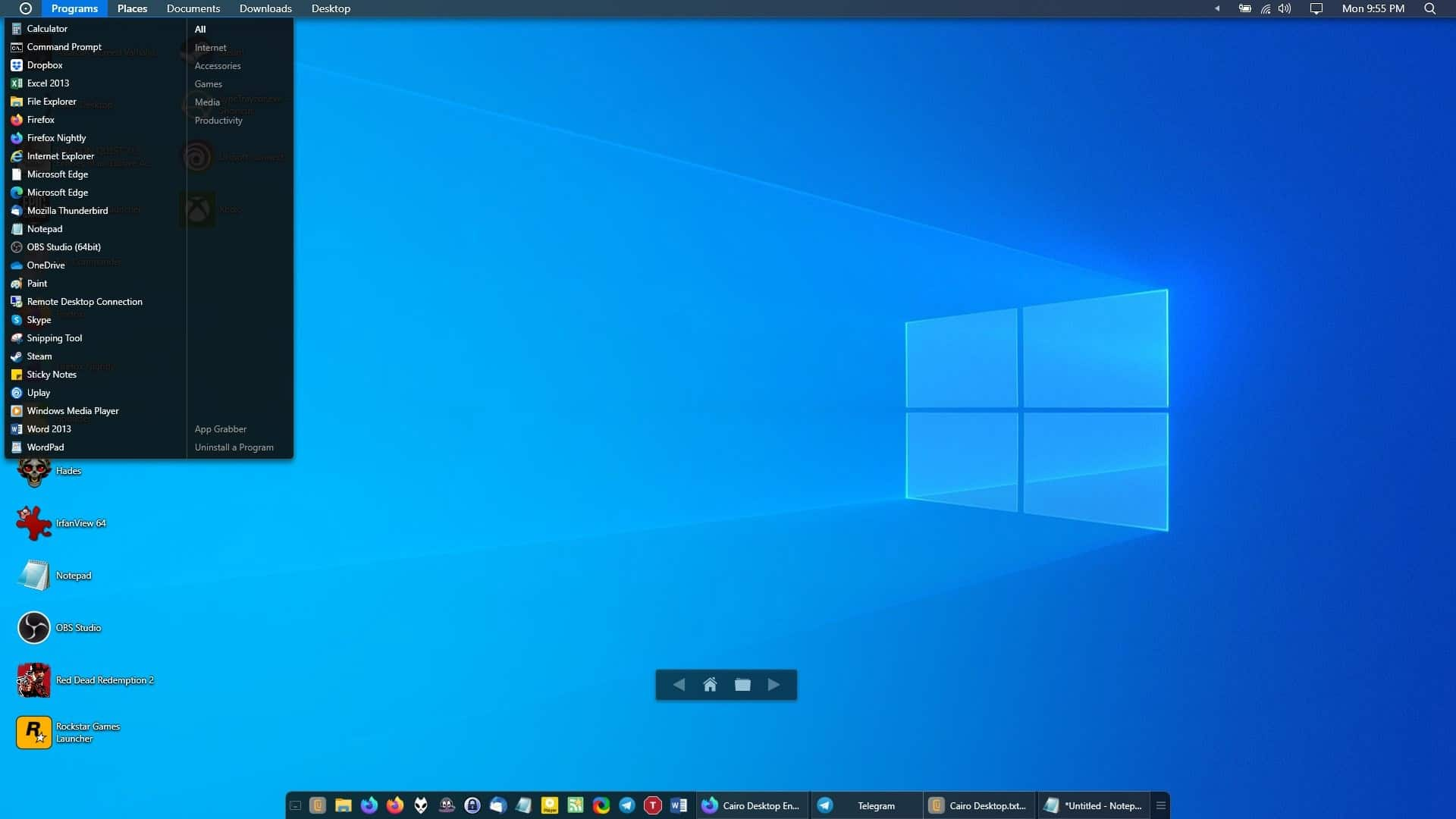 Cairo Desktop programs menu