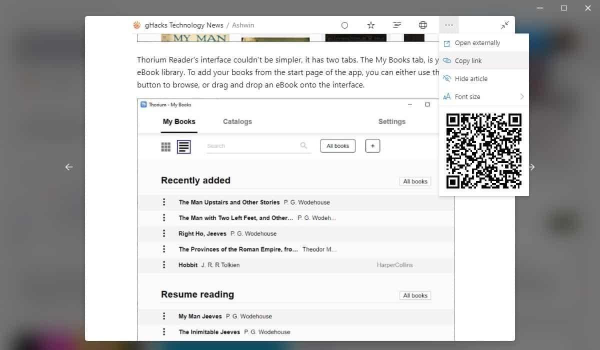 Fluent Reader built-in reader