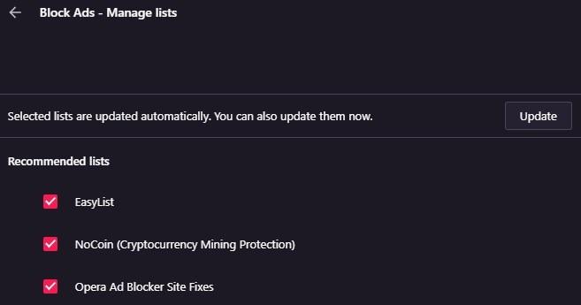 Opera browser and Opera GX adblocker lists