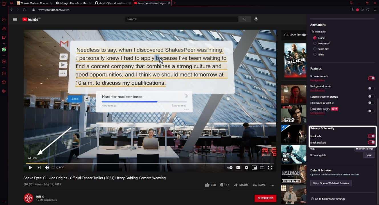 Opera browser and Opera GX are not blocking ads on YouTube