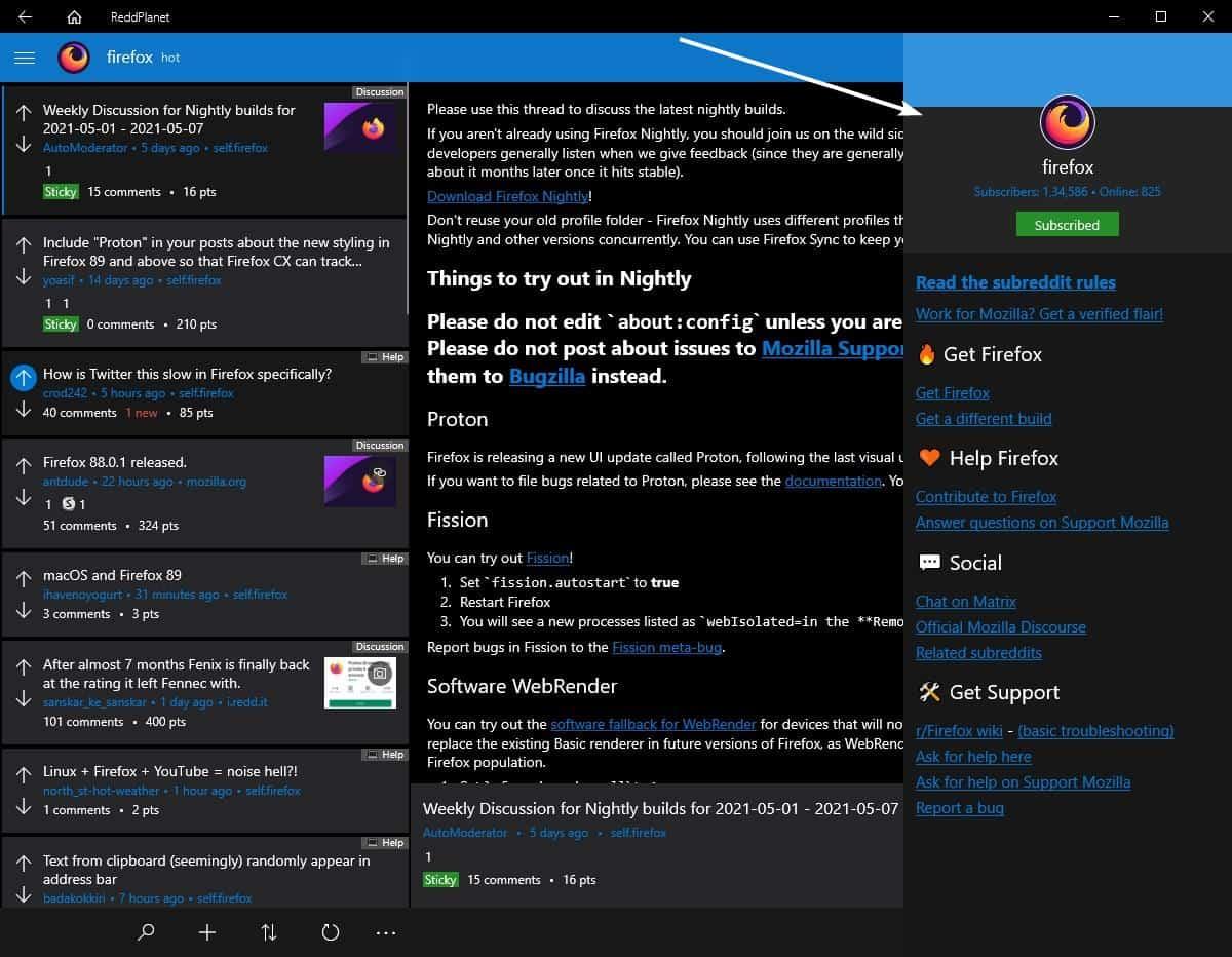 ReddPlanet view subreddit sidebar