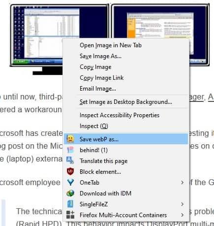 Save WebP as PNG or JPEG - page context menu