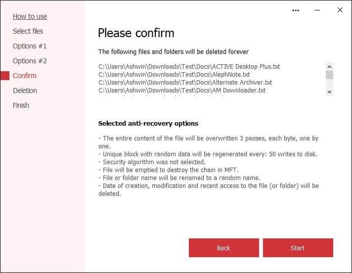 Secure File Deleter - settings summary