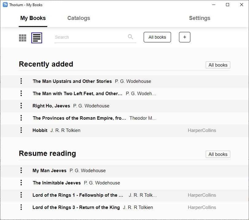 Thorium Reader - List view