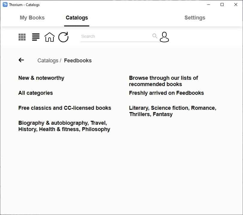 Thorium Reader OPDS feed catalog