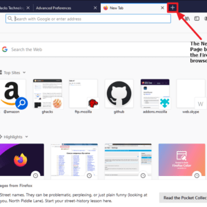 firefox home new tab page buttons