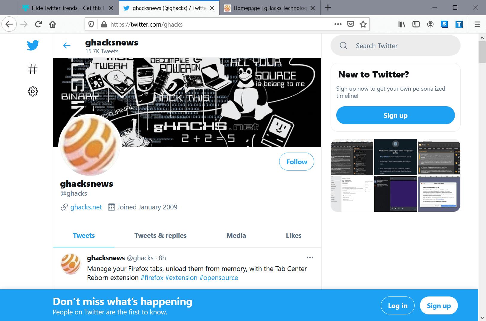 hide twitter trends firefox