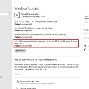 kb5003173 error during update installation 0x800f0922